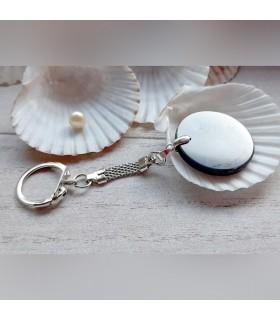 Porte-clé pastille en shungite (attache couleur argent)
