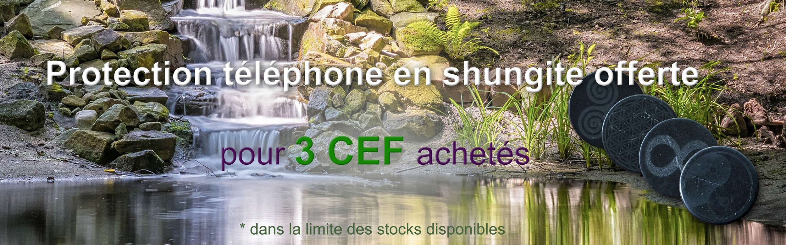 Protection téléphone en shungite offerte pour 3 CEF achetés